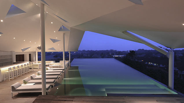 invinitie pool view at IZE Seminyak